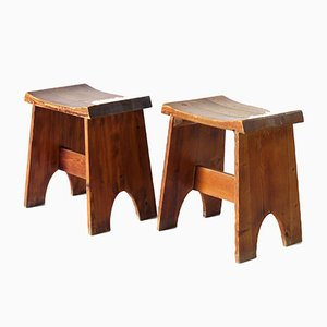Tabourets Modernistes en Pin, 1930s, Set de 2