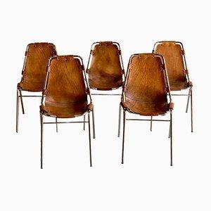Chaises de Salle à Manger Les Arcs en Cuir par Charlotte Perriand pour Cassina, 1970, Set de 5