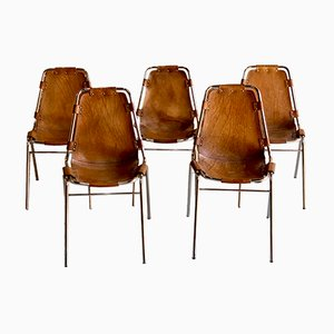 Les Arcs Esszimmerstühle mit Sitz aus Leder von Charlotte Perriand für Cassina, 1970, 5er Set