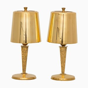 Art Deco Tischlampen von Genet & Michon, 2er Set