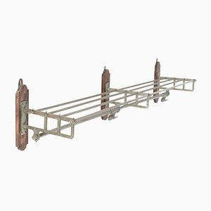Large Art Deco French Nickel-Plated Brass Coat Rack, 1930s