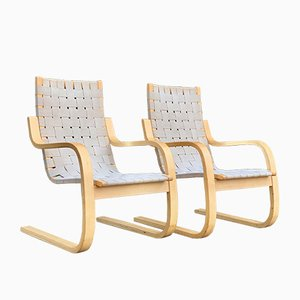 Model 406 Cantilever Armchairs by Alvar Aalto for Artek, 1970s, Set of 2