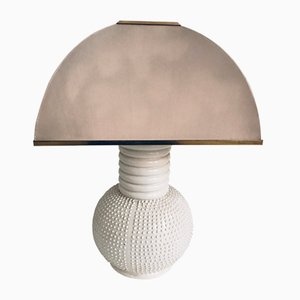 Large Mid-Century White Ceramic Table Lamp