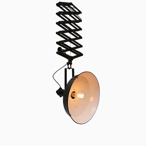 Lámpara acordeón industrial vintage grande de metal esmaltado en negro