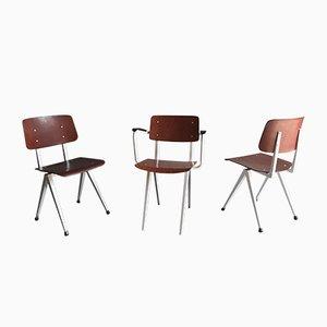 Chaises S16 en Pagholz Rouge Foncé de Galvanitas, 1960s, Set de 3