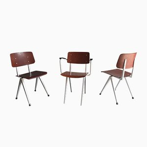 S16 Dark Red Pagwood Chairs from Galvanitas, 1960s, Set of 3