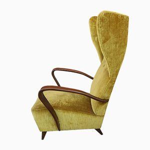 Mid-Century Walnut and Velvet Armchairs, Set of 2
