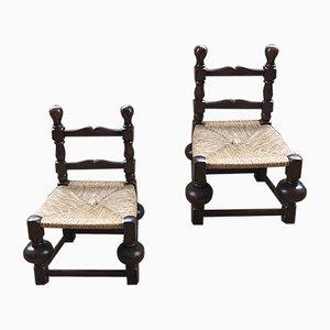 Mid-Century Stühle mit Sitz aus Strohgeflecht, 1940er, 2er Set