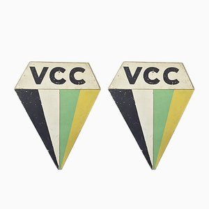 Vintage VCC Fahrradschilder, 2er Set