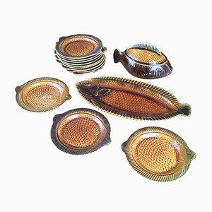 Fish Tableware Set from Sarregemines, 1950s