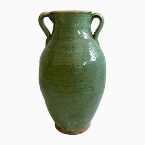 Handmade Blue-Green Glazed Terracotta Clay Pot by Golnaz