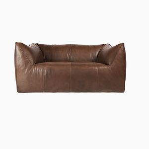 Le Bambole Brown Leather 2-Seat Sofa by Mario Bellini for B&B Italia, 1970s