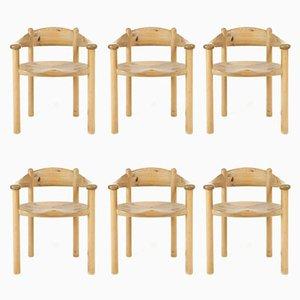 Skandinavische Esszimmerstühle aus Kiefernholz von Rainer Daumiller, 6er Set