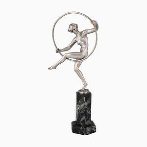 Escultura de bailarina con aro Art Déco de bronce de Marcel André Bouraine, años 20