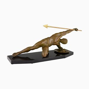 Art Deco Bronze Gladiator with Spear Sculpture by Desire Grisard, 1920s
