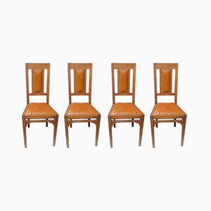 Vintage Liberty Leather Chairs, 1920s, Set of 4