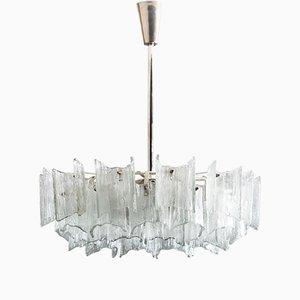 Lampadario in vetro smerigliato di J.T. Kalmar per Kalmar, anni '60