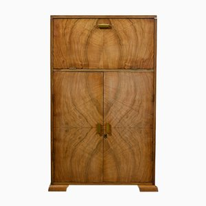 Art Deco Bleached Walnut Drinks Cocktail Cabinet, 1930s