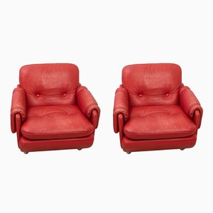 Red Leather Lounge Chairs with Caster Wheels, 1970s, Set of 2