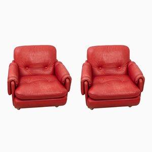 Rote Vintage Lombardia Ledersessel von Risto Holme für IKEA, 1970er, 2er Set
