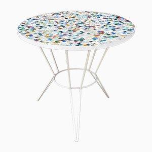 Tavolo vintage con ripiano mosaicato, anni '60