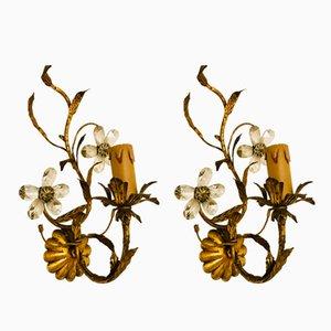 Vergoldete Murano Wandleuchten in Blumen-Optik, 1930er, 2er Set