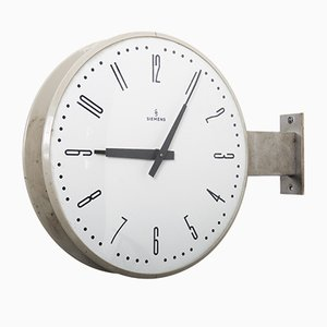 Halske Double Faced Train Station Clock from Siemens, 1970s