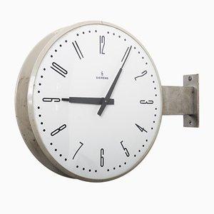 Reloj de estación de tren Halske de doble cara de Siemens, años 70