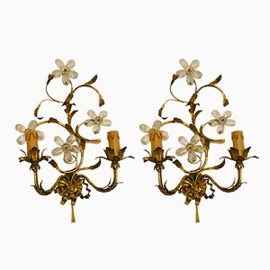 Gilded Sconces with Murano Glass Flowers, 1930s, Set of 2