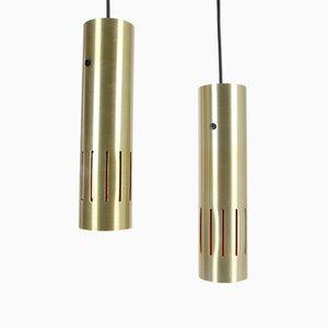 Lámparas colgantes Trombone danesas vintage de Jo Hammerborg para Fog & Mørup, años 60. Juego de 2