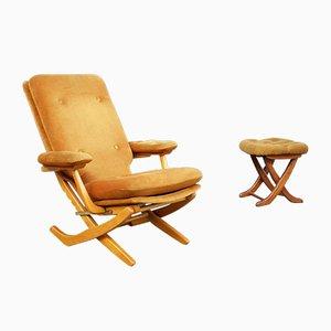 Französischer Vintage Sessel & Fußhocker, 1960er