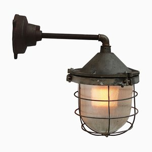 Vintage Industrial Cast Iron & Glass Wall Light from Holophane
