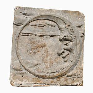 Grand Panneau Mural Visage de Lune Antique en Plâtre