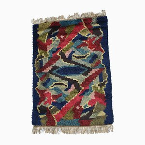 Modernist Abstract Swedish Rya Rug, 1940s