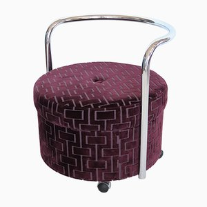 Vintage Pouf with Wheels & Chrome Backrest, 1970s