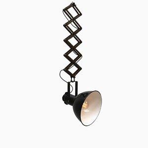 Lampe Ciseaux Industrielle Vintage en Émail Noir, 1950s