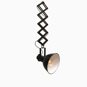 Vintage Industrial Scissor Light with Black Enamel, 1950s