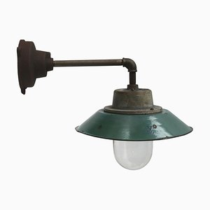 Vintage Industrial Petrol Enamel & Cast Iron Wall Lamp