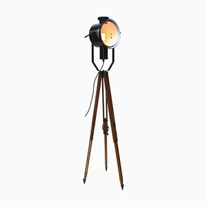 Vintage Wood & Black Enamel Tripod Floor Lamp