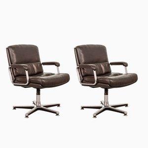 Sillas de escritorio de cuero marrón oscuro de Drabert, años 70. Juego de 2