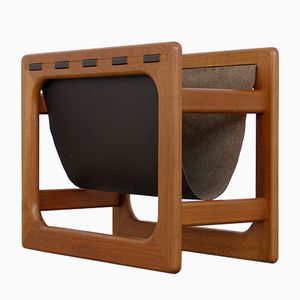 Vintage Teak and Leather Magazine Rack
