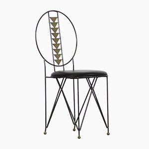 Industrielle Esszimmerstühle aus Metall & Messing, 1980er, 6er Set