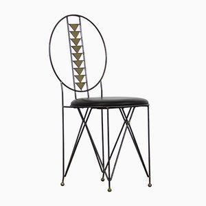 Sedie da pranzo industriali in metallo e ottone di Frank Lloyd Wright per Cassina, anni '70, set di 6