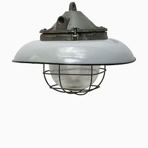 Vintage Industrial Grey Enamel & Cast Iron Pendant from Holophane