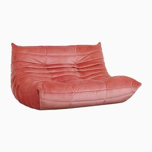 Pink Velvet Togo Loveseat by Michel Ducaroy for Ligne Roset, 1970s