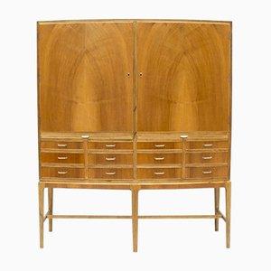 Danish Bow Fronted Walnut & Oak Cabinet, 1950s