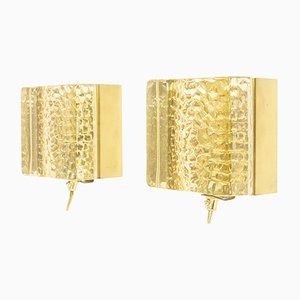 Glass and Brass Wall Lamps from Vitrika, 1970s, Set of 2