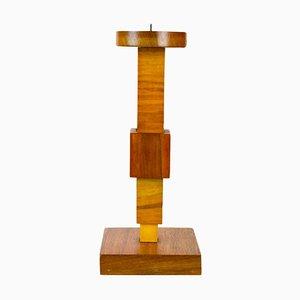 Cubist Wooden Candlestick, 1920s
