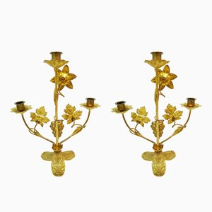 Antique Brass Candleholders, Set of 2