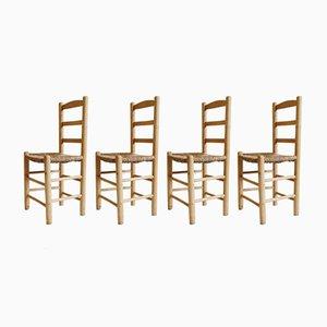 Mid-Century Esszimmerstühle aus Holz & Strohgeflecht, 4er Set